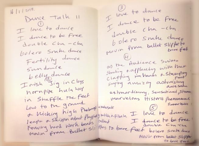 Dance Talk II Deirdre Carr notebook